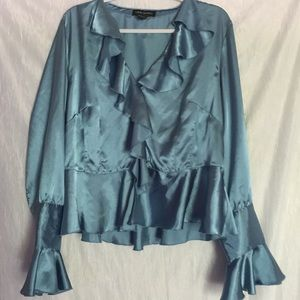 Lane Bryant satin blue peplum button up top 14/16